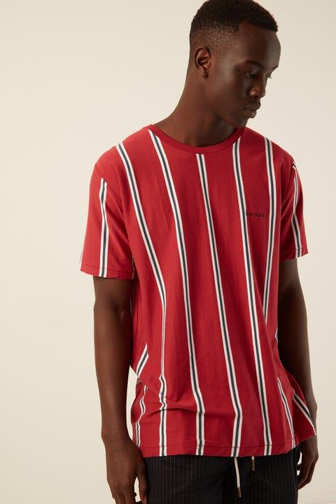 BARNEY COOLS Homie Tee Veritcal Stripe Red Stripe