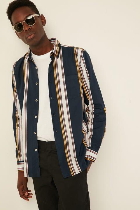 BARNEY COOLS Holiday Shirt Navy Stripe