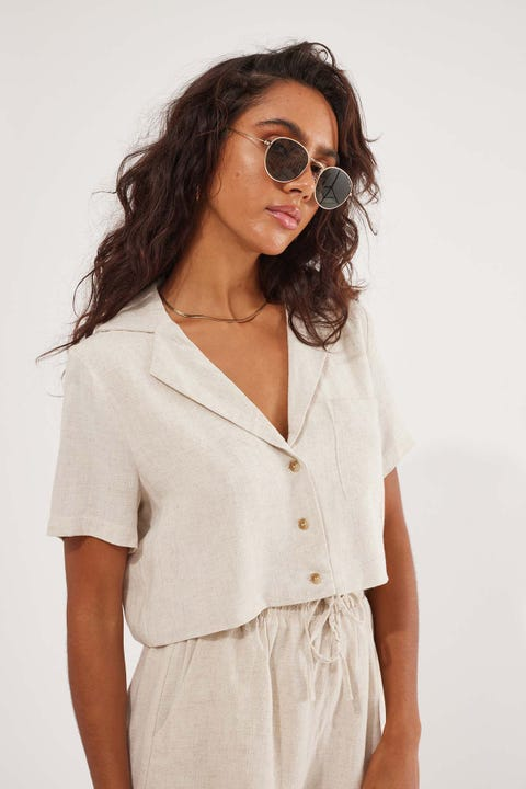 Perfect Stranger Crop Resort Shirt Oatmeal
