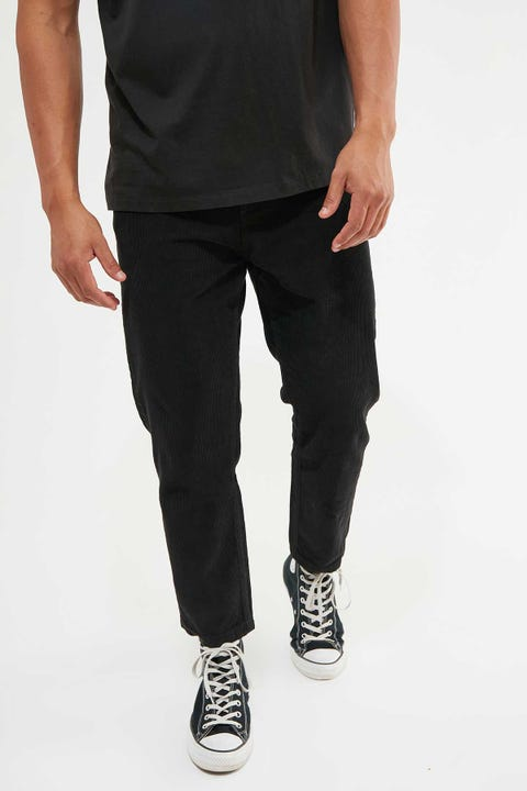 Thrills Chopped Corduroy Pant Overdyed Black