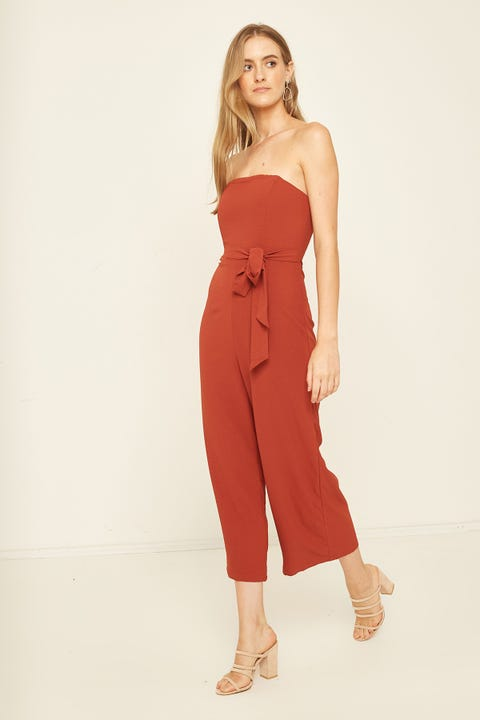 LUCK & TROUBLE Strapless Dressy Jumpsuit Rust