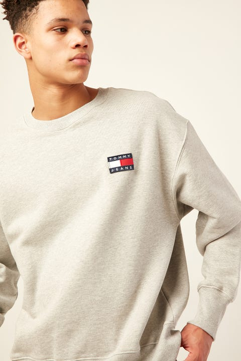 TOMMY JEANS TJ US Tommy Badge Crew Light Grey Heather