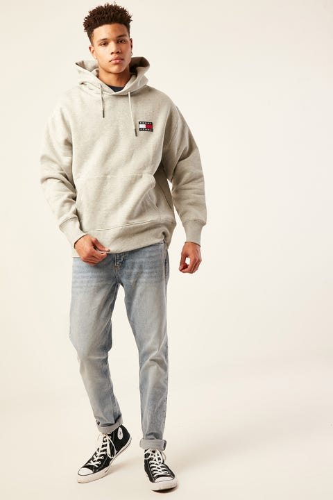 Tommy Jeans TJ US Tommy Badge Hoodie Light Grey Heather