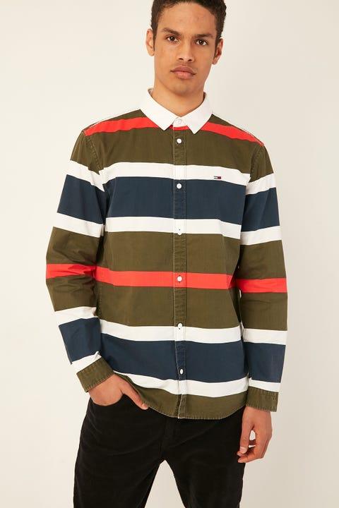 TOMMY JEANS TJM Retro Stripe Shirt Olive Night / Multi