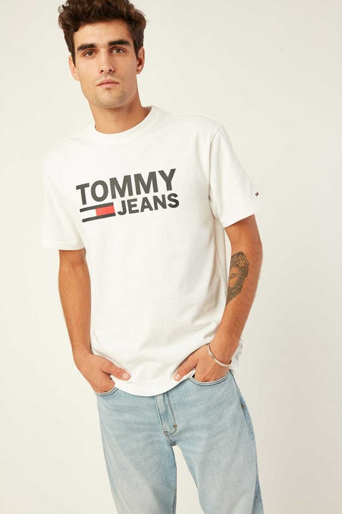 TOMMY JEANS TJM Tommy Classics Logo Tee Classic White