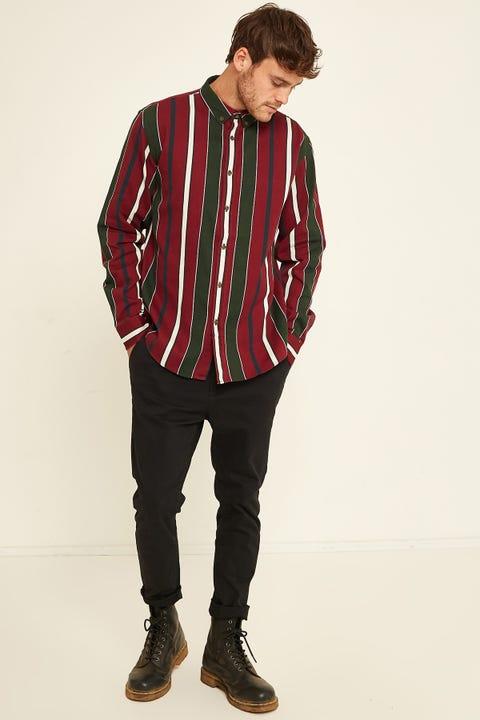 COMMON NEED Wisdom Vertical Stripe LS Shirt Burgundy
