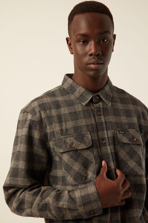 BRIXTON Bowery L/S Flannel Black / Heather Grey