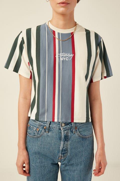 Stussy Preston Crop OS Tee Blue Stripe