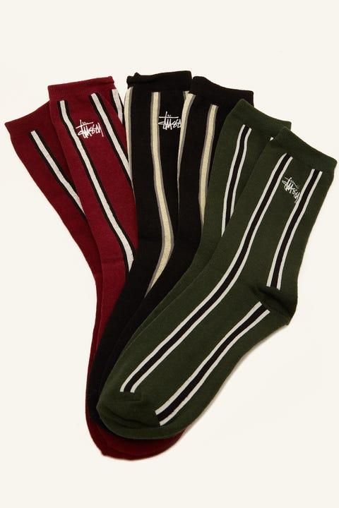 STUSSY Graffiti Vert Stripe Sock 3 Pack Multi