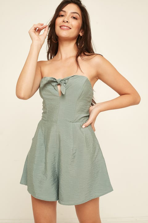 LUCK & TROUBLE Little Tie Strapless Playsuit Green
