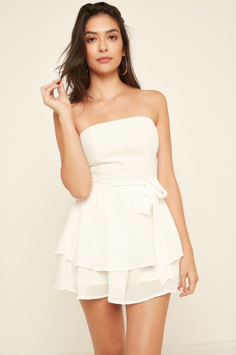 LUCK & TROUBLE Social Strapless Playsuit White