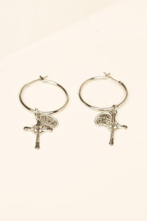 Token Cross Earring Silver