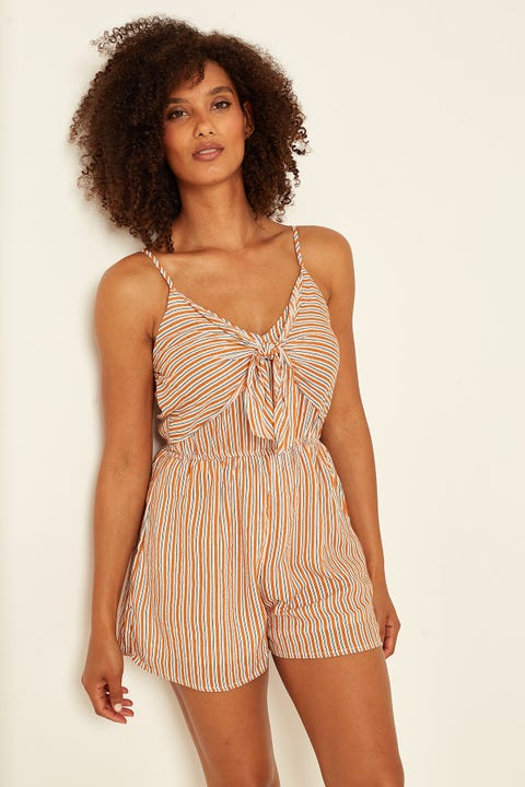 LUCK & TROUBLE Castaway Tie Up Playsuit Rust Stripe