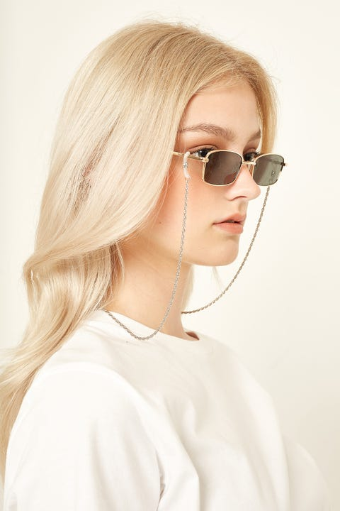 Le Specs Hollow Rope Sunglasses Chain Platinum