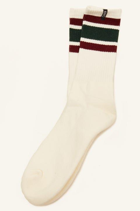 Common Need Retro Sock White/Burgundy/Green