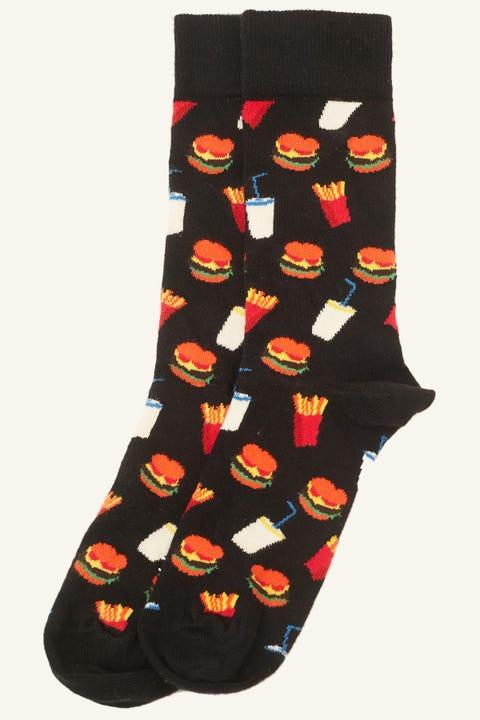 HAPPY SOCKS Hamburger Sock Black/Mul Black/Multi