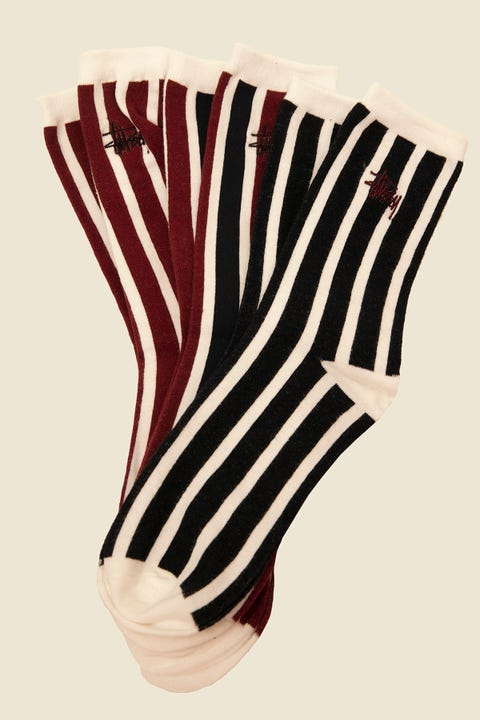 STUSSY Vertical Stripe Sock 3 Pack Multi