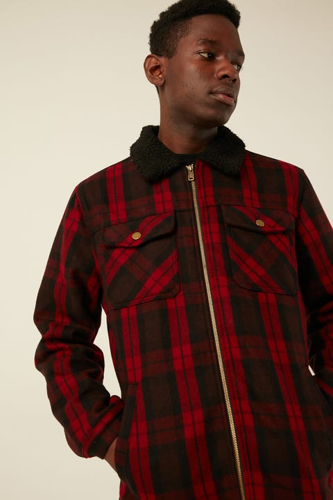 COMMON NEED Saltwater Check Sherpa Red/Black Check