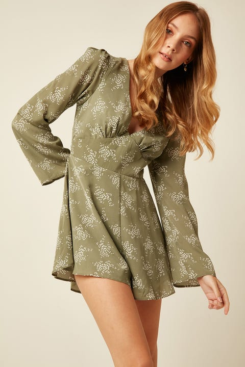 LUCK & TROUBLE Isla Playsuit Sage Print