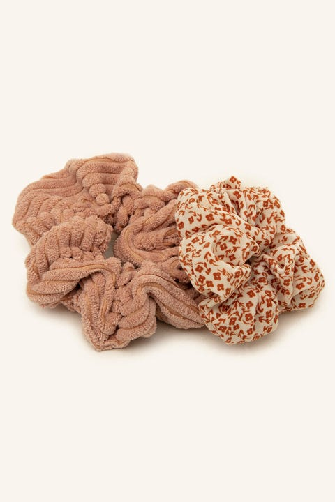 TOKEN Cord & Floral Scrunchie Pack Multi