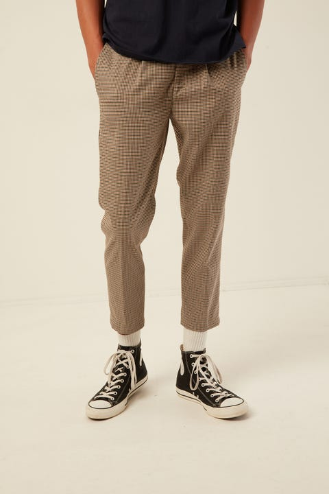 COMMON NEED Soho Pleat Front Crop Pant Sand/Mustard/Black Check