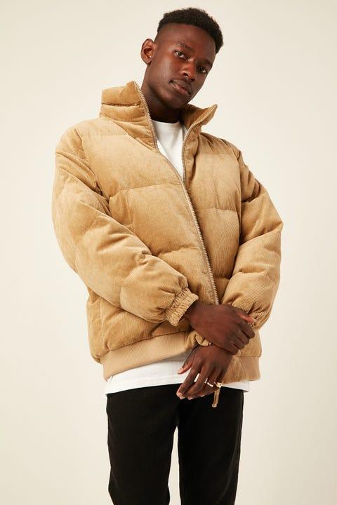 COMMON NEED Everest Corduroy Puffer Jacket Tan