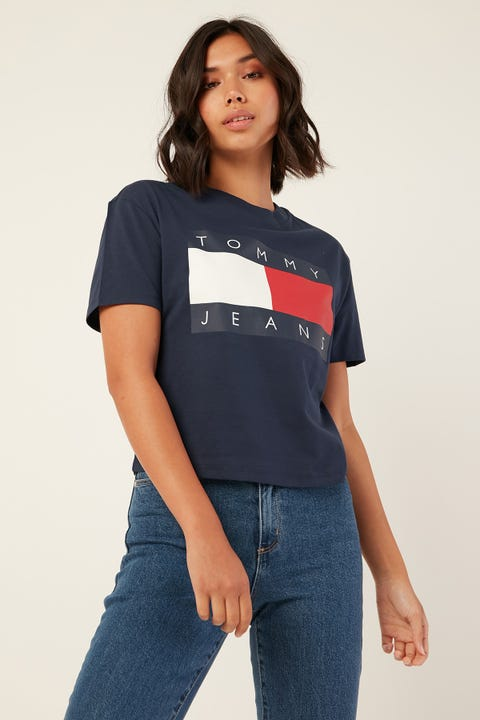 TOMMY JEANS Tommy Flag Tee Black Iris Navy