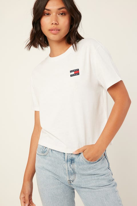 TOMMY JEANS Tommy Badge Tee Classic White