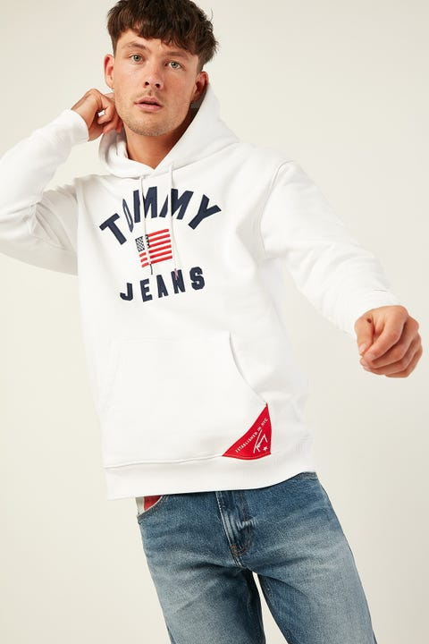 TOMMY JEANS TJM Americana Hoodie Classic White
