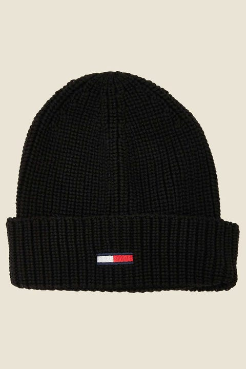 Tommy Jeans Basic Flag Rib Beanie Black
