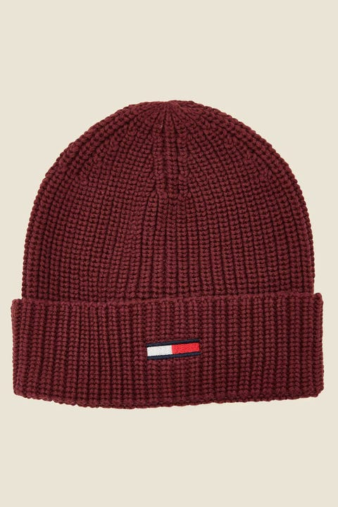 Tommy Jeans Basic Flag Rib Beanie Burgundy