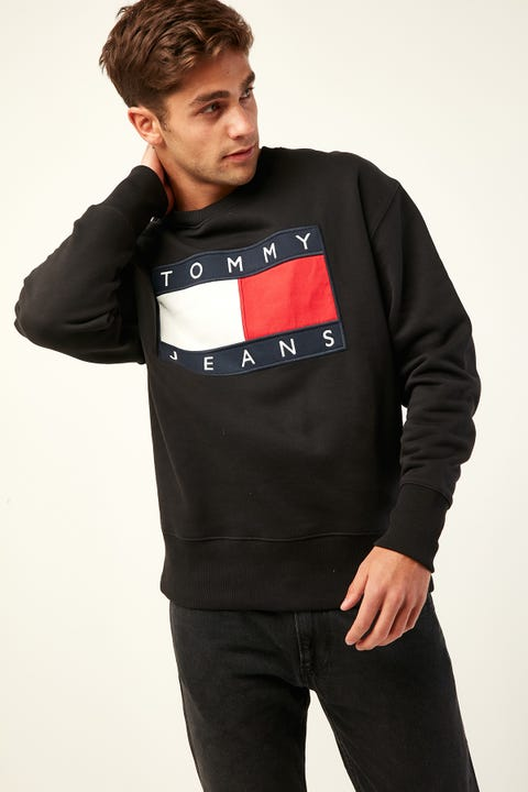 TOMMY JEANS TJM Tommy Flag Crew Tommy Black