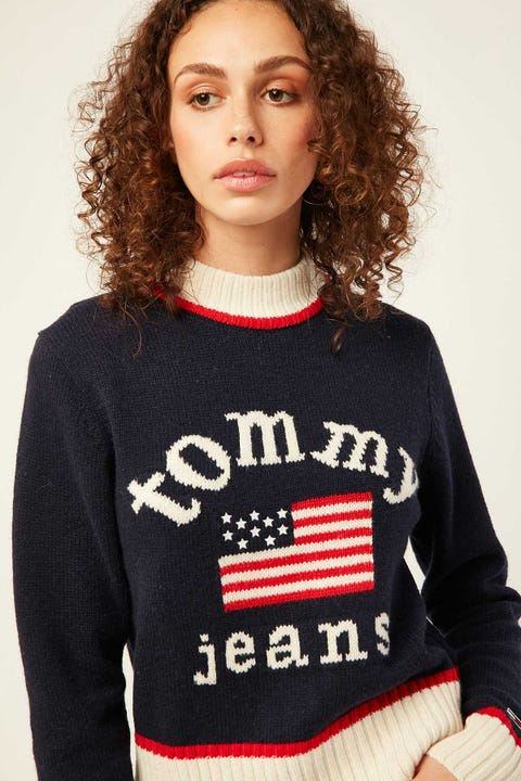 TOMMY JEANS TJW American Flag Sweater Black Iris / Multi