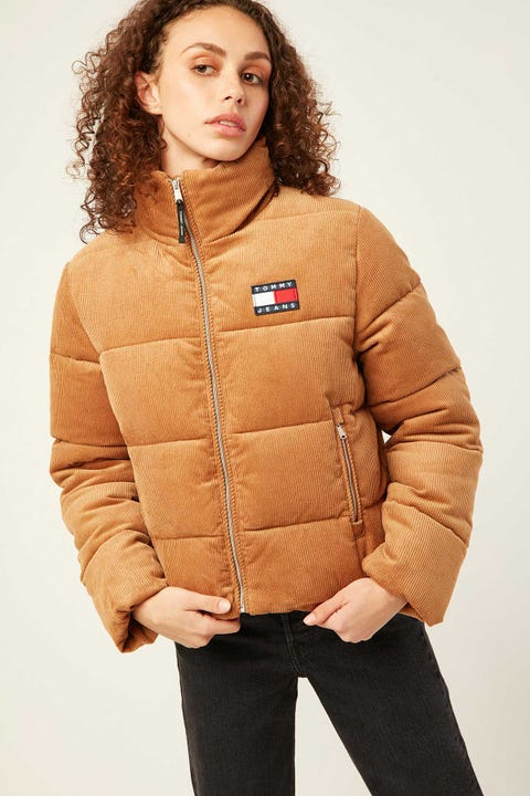 TOMMY JEANS TJW Cord Puffa Jacket Tobacco Brown