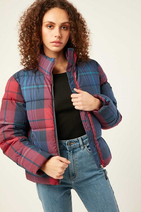 TOMMY JEANS TJW Cotton Check Puffa Jacket Blue Print / Multi Check