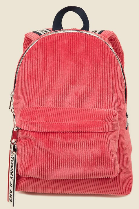 TOMMY JEANS TJW Logo Tape Mi Backpack Corduroy Claret Red