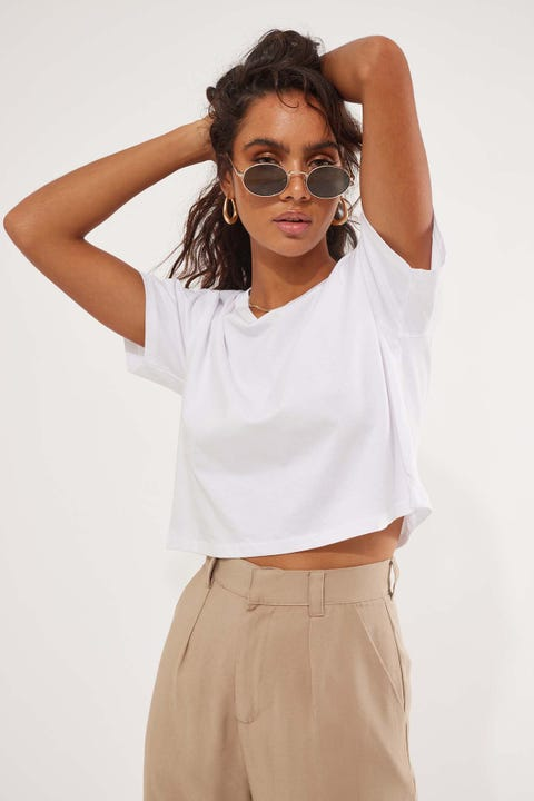 AS Colour Crop Tee White