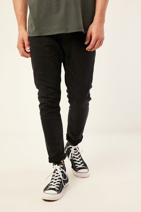 Abrand A Dropped Skinny Turn Up Jean Shadow Black