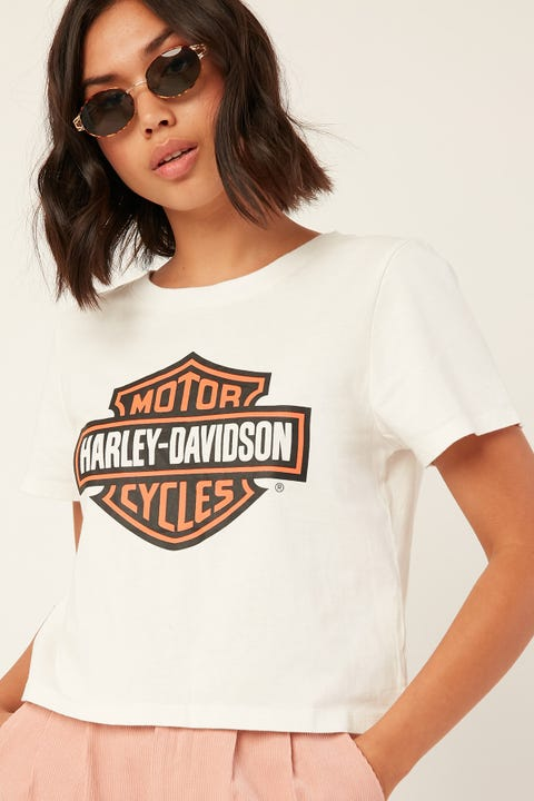 Harley-davidson Shield Crop Tee Vintage White