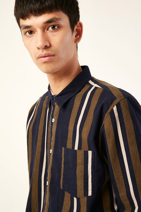 BARNEY COOLS Cabin LS Cord Shirt Navy Stripe