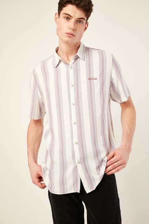 BARNEY COOLS Holiday SS Shirt White Multi Vertical