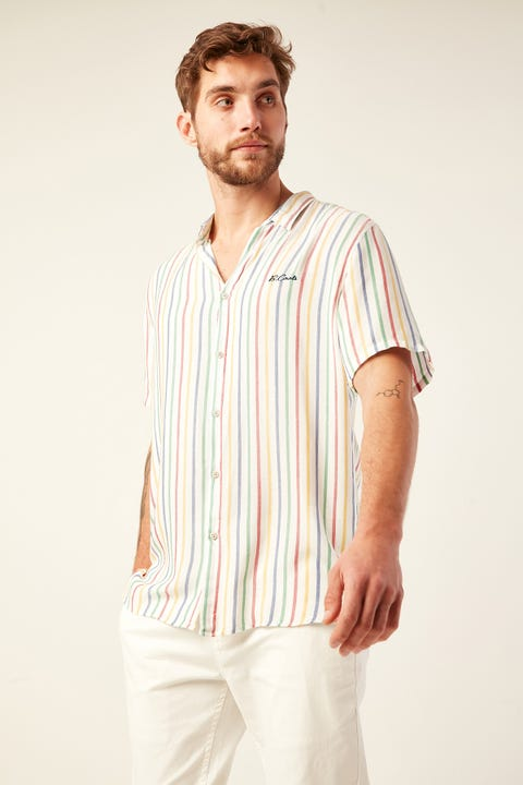 BARNEY COOLS Holiday SS Shirt White Multi Stripe