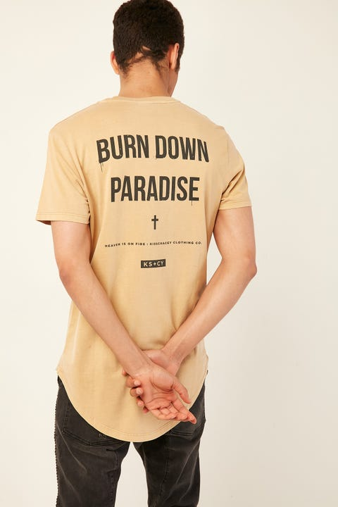 KISS CHACEY Burn Dual Curved Hem Tee Pigment Tan