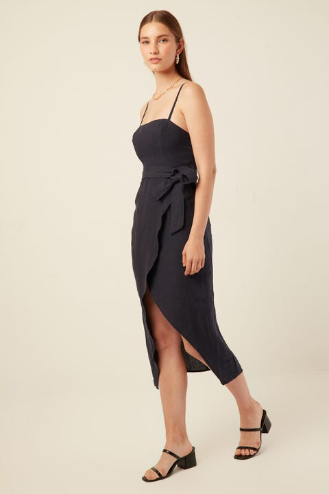 PERFECT STRANGER All or Nothing Linen Midi Navy