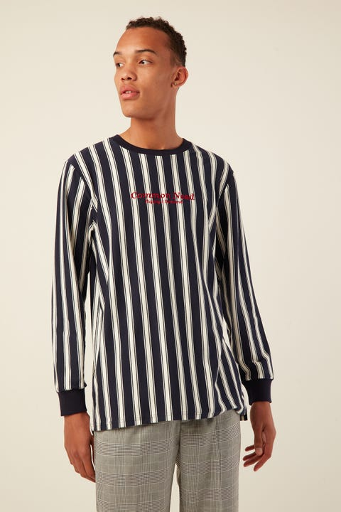 COMMON NEED Voyager Vertical Stripe Longsleeve Navy