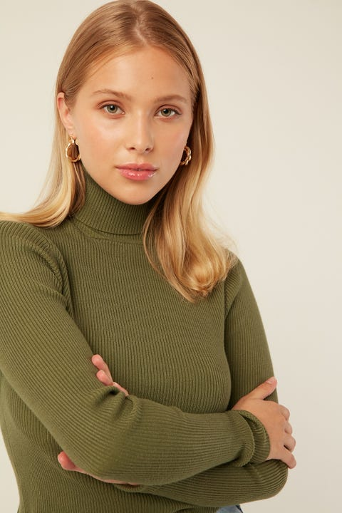 Perfect Stranger Roll Neck Knit Top Green