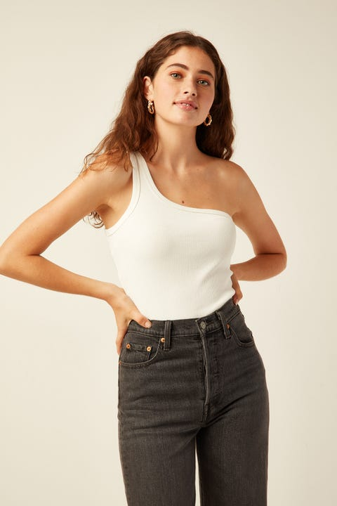 PARE BASIC Rib One Shoulder Top White