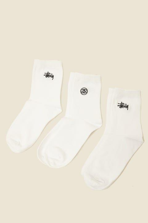 STUSSY Graffiti Crew Sock 3Pk White