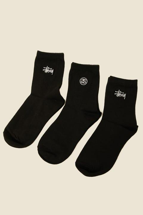 STUSSY Graffiti Crew Sock 3Pk Black