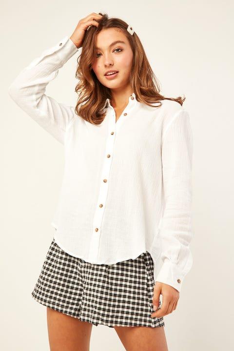 PERFECT STRANGER Upside Long Sleeve Shirt White